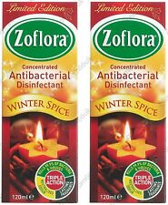 2x ZOFLORA Antibacterial Disinfectant Concentrated Kill Germ 120ml- WINTER SPICE