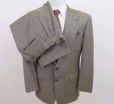 Hickey Freeman Saks Fifth Diplomat Wool Light Brown Mens Suit 38/40 R 34x30 USA