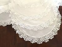 """Vintage White Square Tablecloth w/Crocheted Scalloped Edges 42""""x41"""""""