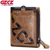 Men's Genuine Leather Cowhide Zipper Wallet Bifold Credit Card ID Holder Purse