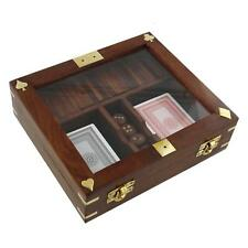 Personalised Harvey Makin Playing Cards,Dice & Dominoes Wooden Box Set