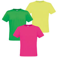 Mens Womens Ladies Neon T-shirt Fluorescent Bright Retro 80s Disco Fancy Dress