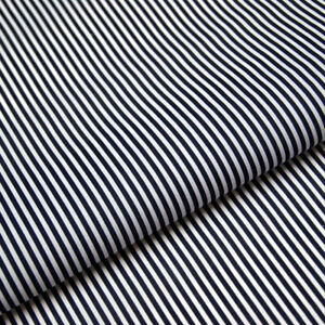 Navy Blue Stripe Polycotton Fabric Striped Lines Material Craft 3mm Per METRE
