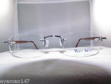 KEY WEST SILVER RECTANGLE WITH WOOD TEMPLES 3PC RIMLESS-KW030
