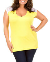 Yellow Lace Accent Plus Size Tunic Top 3XL New