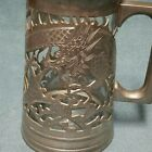 Vtg Rare 19th Century Chinese HUIKEE Carved Pewter Dragon Glass STAIN