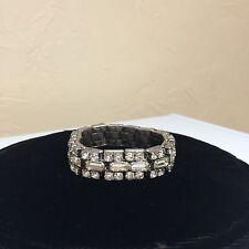 8 to 10 inch Lovely 3 Tier Clear Rhinestone Stretch Bracelet