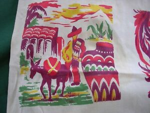 #M Vintage Mexican Theme Hand Print Tablecloth CUTTER BOLD MOTIF~CACTUS DONKEY +