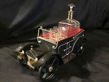 "Vintage Antique Metal 14"" Car Scotch Gin Decanter & 6 Shot Glass Set Music Box"