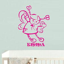 Wall Vinyl Sticker Kids Baby Custom Name Little Princess Butterfly Wings (Z646)