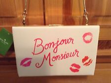 $328 AUTH KATE SPADE MERRiON Square BONJOUR MONSiEUR EMANUELLE PURSE New