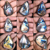Natural Labradorite AAA Finest Untreated Superb Colors Fiery Pear Cabochon Gems