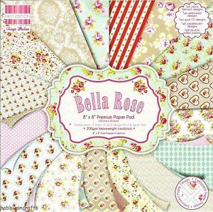 BELLA ROSE Dovecraft 8 x 8 Sample Paper Pack 16 Sheets 200gsm Floral Flowers
