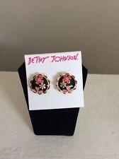 $35 Memoirs Of Betsey Johnson Black Flower Stud  Button Earrings BJL-13A