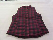 Warmest Puffer Vest GAP LG Purple Red & Black Plaid Full Zip and Snap NWT
