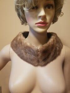 VINTAGE MINK Collar, Stole 2 Eye Hooks 27x3.5 Inches #2