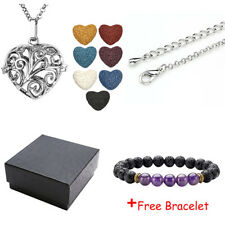 Heart Aromatherapy Essential Oil Diffuser Necklace Locket Colorful Lava Stone US