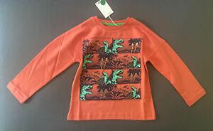 Toddler Boy Size 3-4 Years Mini Boden Orange Dinosaur Print Long Sleeve T-Shirt