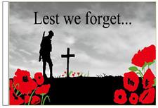 Lest We Forget . . . Remembrance Sleeved Courtesy Flag for Boats 45cm x 30cm