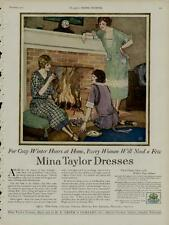 1922 MINA TAYLOR DRESSES AD / 3 FEMALES IN COLORFUL DRESSES AT FIREPLACE SCENE