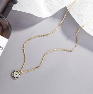 "Evil Eye Pendant Necklace 925 Sterling Silver CZ Turkish Greek Eye 16+2"" Gift S1"