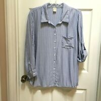 Faded Glory Rayon Shirt 3X Button Front LS