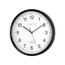 London Clock Modern Radio Controlled Office Wall Clock, 28cm, Black