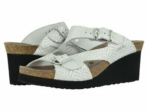 Mephisto 258879 Womens Terie Leather Wedge Slingback Sandal White Size 8 M