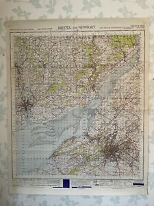 1949 Military System Map Bristol Newport War Office Edition Avon Severn Estuary