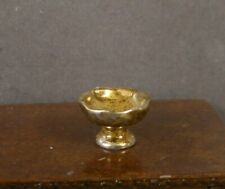 Dollhouse Miniature Gold Metal Bowl for Bread or Fruit Round 1:12 Scale