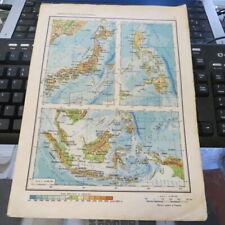 Vintage 1962 Romanian School Atlas pages Japan /Philippines/Indonesia/Americas