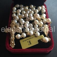 CATHOLIC GOLD 8MM REAL PEARL BEADS NECKLACE ROSE ROSARY & CROSS / CRUCIFIX & BOX