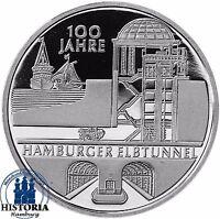 Deutschland 10 Euro Hamburger Elbtunnel 2011 Silber-Gedenk-Münze Spiegelglanz