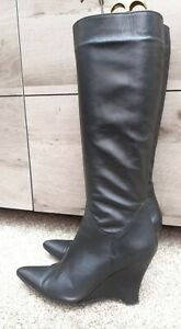 Sexy Black Leather Wedge Heel Knee Boots Fur Lining, Leather Soles UK7