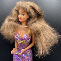 95 Doll Teresa With Brown Hair Redressed Fashion Avenue Purple paisley Dress BL3