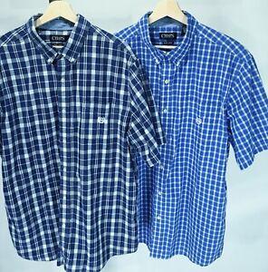 CHAPS Easy Care XXL Lot of 2 Men's Shirts Button Down Short Sleeve Blue Plaid