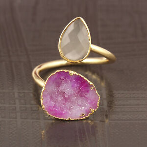 Real Lite Pink Geode Druzy Gray Chalcedony Yellow Gold Plated Adjustable Ring