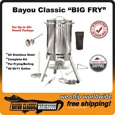 Turkey Fryer Complete Stainless Steel Kit for 25+ Pound Oversized Xl Big Fry