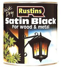Rustins Satin Black Paint - 500ml For Wood & Metal Quick Drying Low VOC Outdoor