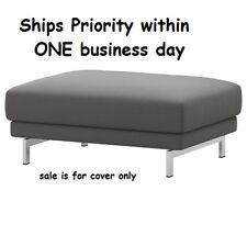 Ikea Nockeby Slipcover Footstool Ottoman Cover (ONLY) Risane Gray Linen Blend