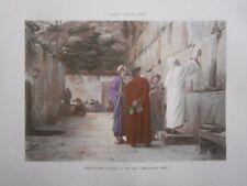 Gravure 19° Théodore Balli : Un voeu Jérusalem 1898 mur des lamentations