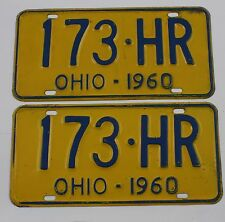 1960 Original Pair of Vintage Ohio License Plates 173HR