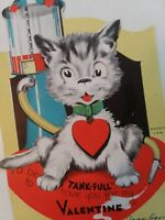 Vtg 1940s Cat at VISIBLE GAS PUMP Mechanical TANK-FULL VALENTINE GREETING CARD