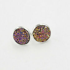 12mm Resin Druzy Crystals Gem 925 Silver Plated Color Stud Bling Earrings EH1777