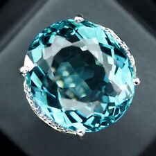 AQUAMARINE AQUA BLUE OVAL 23.60 CT. SAPPHIRE 925 STERLING SILVER RING SIZE 6.5