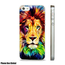 BEAUTIFUL LION COLOURFUL ART CASE FITS  IPHONE 4 4S 5 5S 5C 6 6S 7 8 SE PLUS X