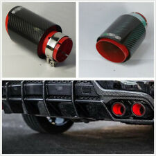 63mm-89mm Real Carbon Fiber Vehicles Exhaust Muffler Pipe Black&Red Steel+Carbon