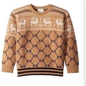Gucci kids GG Print Reindeer Kids Sweater.Sz 3-4