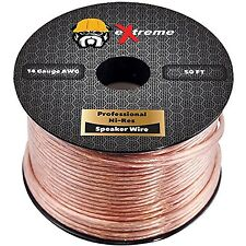 eXtreme Speaker Wire, 14AWG 14 Gauge 2-Conductor Cable (50 Feet, Clear)