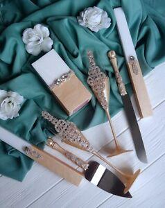 Ivory gold wedding toast flutes Engraved cake server and knife set Unity candle